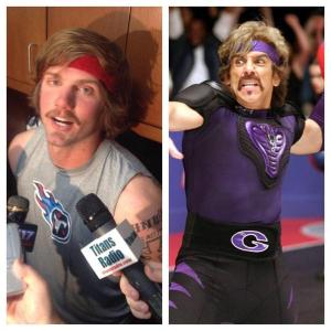 "That's our quarterback on the left.  You might recognize the other guy from such movies as ""Zoolander"" and ""Dodgeball."""